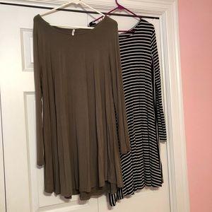 Long sleeve swing dresses